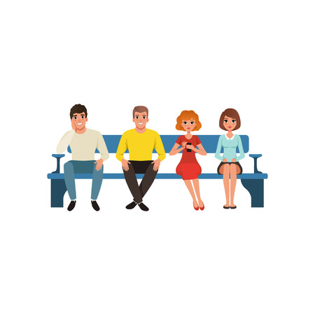 Queue of four people sitting on blue bench. Cartoon character of young men and women with smiling facial expressions waiting for their turn. Colorful vector in flat style isolated on white background.