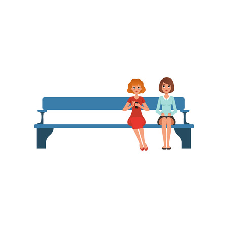 Two young beautiful women sitting on bench in reception waiting for something. People in queue. Cartoon female characters in formal clothes. Colorful flat vector design isolated on white background.  イラスト・ベクター素材