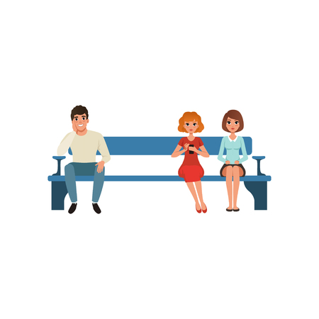 Handsome man and two beautiful women sitting on blue bench and waiting for their turn. Cartoon character of young people in queue. Colorful flat vector illustration isolated on white background.  イラスト・ベクター素材