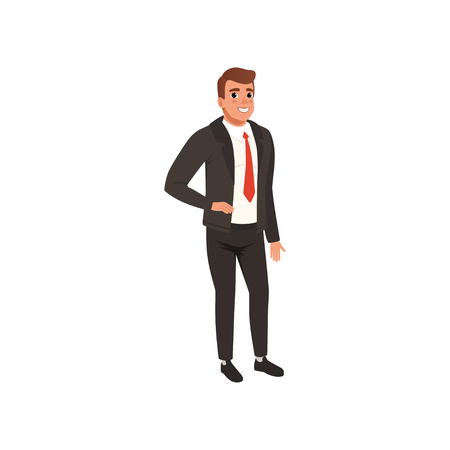 Young businessman standing isolated on white background. Man with smiling face expression. Cartoon character of handsome guy in black formal suit with red tie. Colorful flat vector illustration. Ilustrace