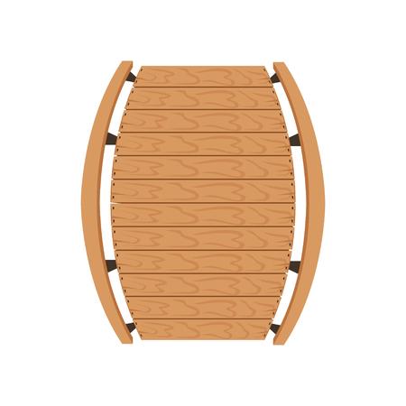 Puente de madera, elemento de diseño de paisaje, vector de vista superior ilustración sobre un fondo blanco.