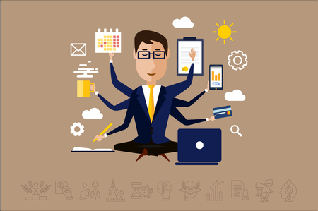 Multitasking businessman with many hands, time management concept vector Illustration in flat style.