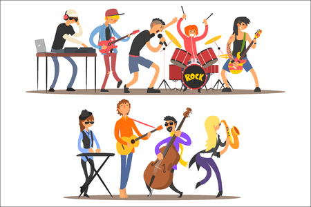 Music band performing on stage, musicians singing and playing music instruments cartoon vector Illustration.
