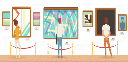 Museum visitors standing in modern art gallery in front of colorful paintings, people attending museum horizontal vector Illustration. Illustration