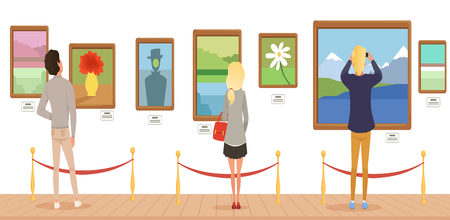 Museum visitors looking at paintings hanging on gallery wall, people attending museum horizontal vector Illustration