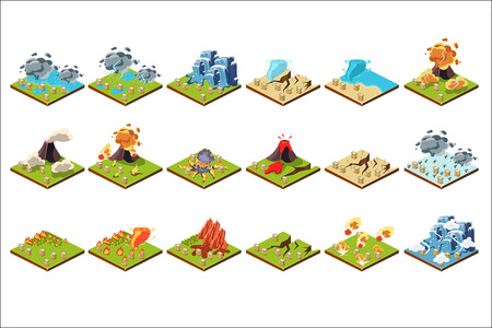 Volcano eruption set, different stages of volcano activity vector Illustrations.