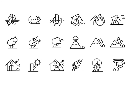 Natural disaster icon set, black line vector Illustrations.