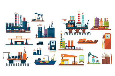 Oil industry set, extraction, refinery and transportation oil and petrol with gas station, vector Illustrations isolated on a white background. Vettoriali