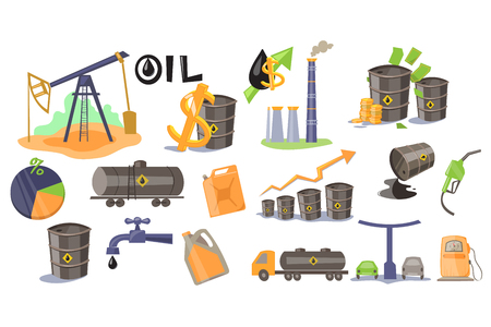 Oil industry set, extraction, refinery, production and sale of oil and oil products vector Illustrations.