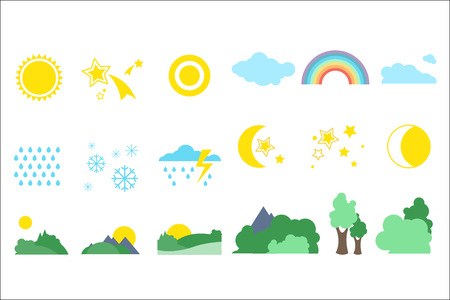 Natural objects set on a white background Illustration