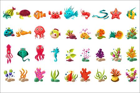 Gran conjunto de criaturas marinas, dibujos animados coloridos animales marinos, plantas y peces vector ilustraciones sobre un fondo blanco Foto de archivo - 100761114