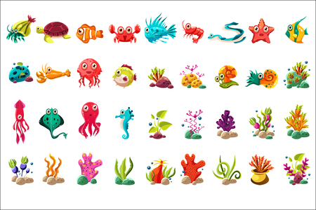 Sea creature big set, colorful cartoon ocean animals, plants and fishes vector Illustrations on a white background Çizim