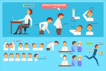 Infografía de síndrome de oficina, mal sentado en el lugar de trabajo, cuidado de la salud y vector de concepto médico ilustración