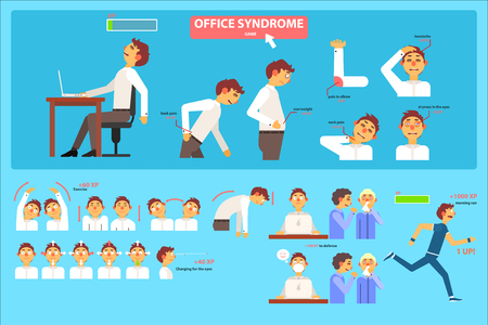 Office syndrome infographics, wrong sitting in the workplace, health care and medical concept vector Illustration