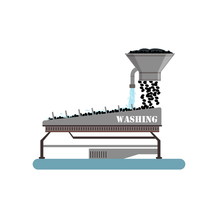 Ripe olives washing on a conveyor line, olive oil production process vector Illustration on a white background Ilustração