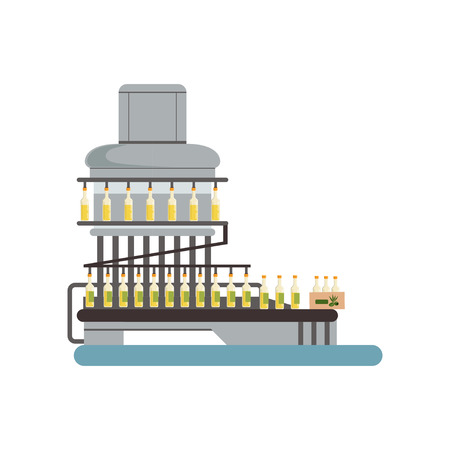 Bottling of olive oil equipment, oil production process vector Illustration on a white background Illustration