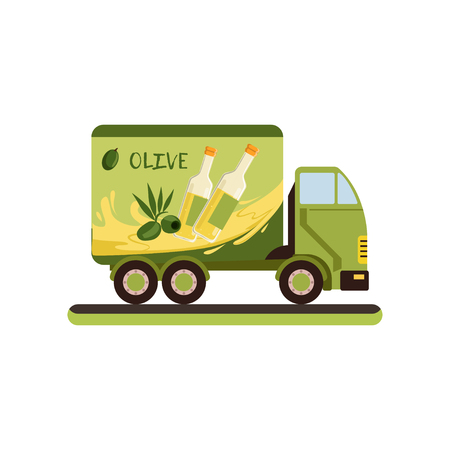 Olive oil delivery service truck vector Illustration isolated on a white background. Illustration