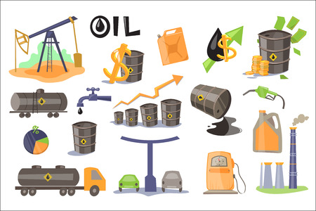 Oil industry set, extraction, refinery, production and sale of oil products vector Illustrations on a white background  イラスト・ベクター素材
