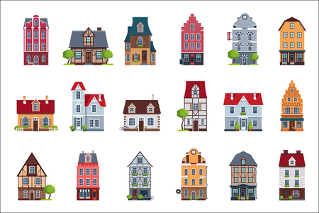 Old European houses facade set, colorful houses of different architectural styles vector Illustrations on a white background 向量圖像