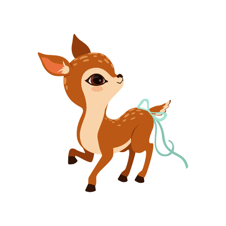 Cute little fawn character with a bow on the tail vector Illustration on a white background Illustration