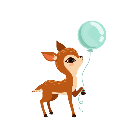 Cute little fawn character with balloon vector Illustration on a white background Иллюстрация