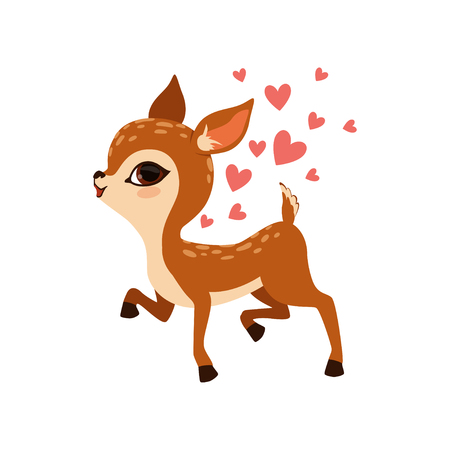 Cute little fawn character with hearts vector Illustration on a white background