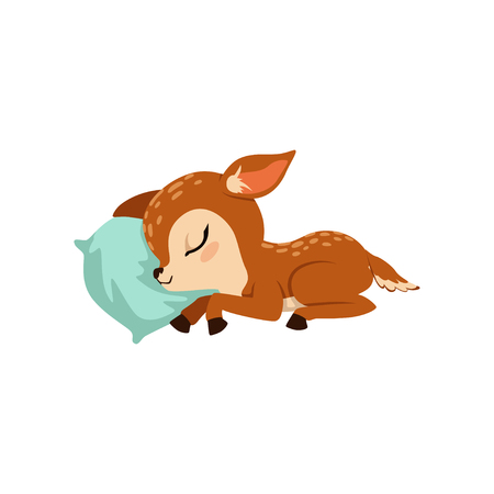 Cute little fawn character slaaping on a pillow vector Illustration on a white background Ilustrace