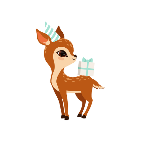 Cute little fawn character wearing party hat with gift box vector Illustration on a white background