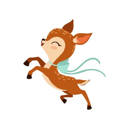 Cute little fawn character with bow on his neck running vector Illustration on a white background