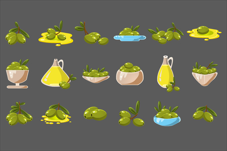 Olives set, olive oil in a glass jug vector Illustrations on a gray background