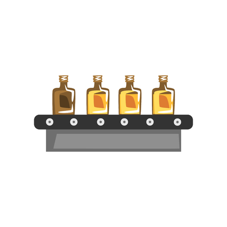 Olive oil production, automated factory line with bottle of oil vector Illustration on a white background