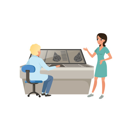 Doctors discussing the results of a medical examination, mammogram information, diagnosis of breast cancer vector Illustration on a white background