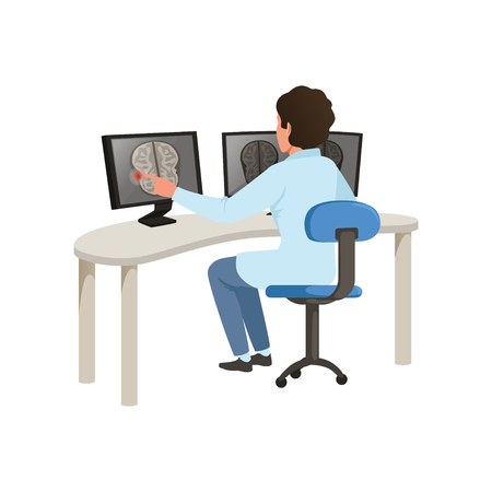 Male doctor checking MRI results of brain scan on a computer screens, healthcare and medicine concept vector Illustration on a white background Ilustracja
