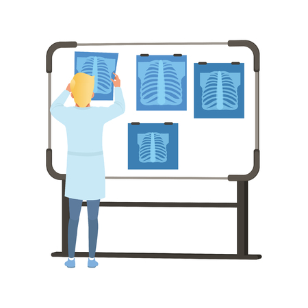 Male looking at MRI results of thorax scan on a screen, healthcare and medicine concept vector Illustration on a white background