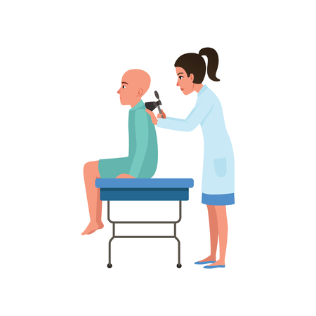Female doctor examining male patient with cancer, man with oncologic disease, oncology therapy, treatment vector Illustration on a white background