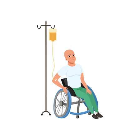 Paciente sometido a tratamiento de quimioterapia, hombre con enfermedad oncológica, terapia oncológica, vector de tratamiento ilustración sobre un fondo blanco