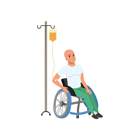 Patient undergoing chemo treatment, man with oncologic disease, oncology therapy, treatment vector Illustration on a white background
