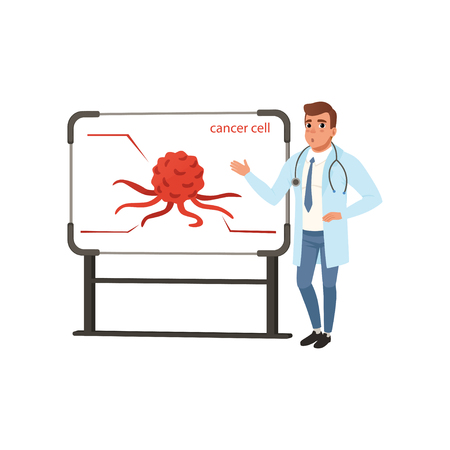 Young oncologist doctor giving presentation about cancer cell vector Illustration on a white background