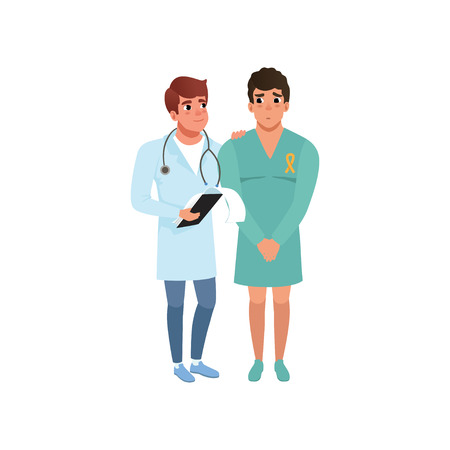 Doctor and his patient with oncologic disease, healthcare and medicine concept vector Illustration on a white background