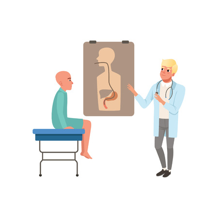 Doctor advising patient about results of medical examination, bald man with cancer after chemotherapy, oncology therapy, treatment vector Illustration on a white background Illustration