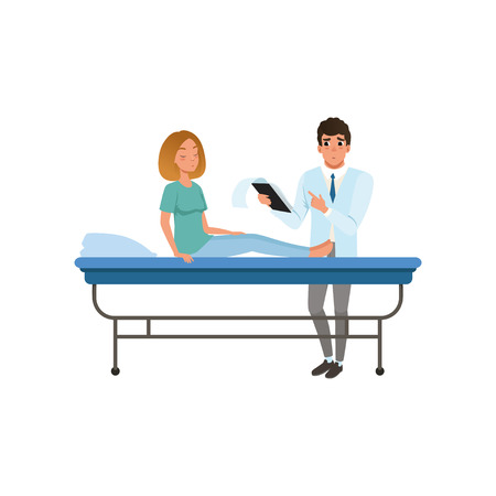 Doctor examining his female patient at hospital, healthcare and medicine concept vector Illustration on a white background Illustration