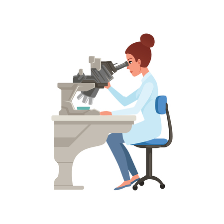 Laboratory assistant looking through microscope, scientists in medical laboratory doing research vector Illustration on a white background Illustration