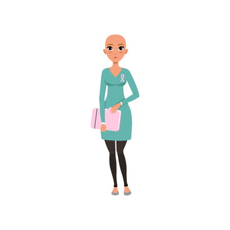 Young woman after chemotherapy, bald woman with cancer, oncology therapy, treatment vector Illustration on a white background Illustration
