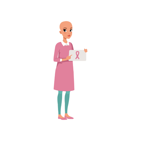 Young woman after chemotherapy holding sign with pink breast cancer ribbon, bald woman with cancer, oncology therapy, treatment vector Illustration on a white background