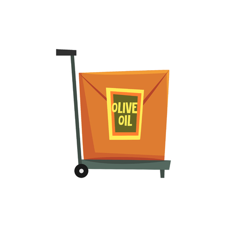 Hand truck with cardboard box with label Olive oil vector Illustration on a white background