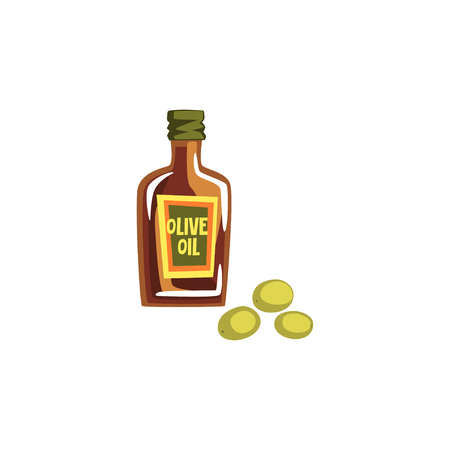 Glass bottle of olive oil vector Illustration on a white background