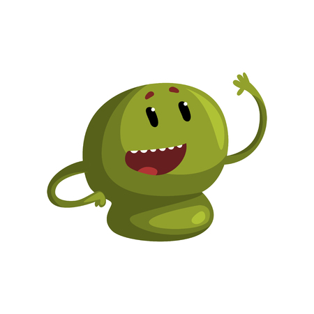Cute cartoon green monster character with funny face vector Illustration on a white background Illustration