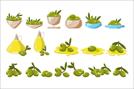 Green olives set, olive oil in a glass jug vector Illustrations on a white background