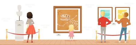 Visitantes del museo mirando obras de arte clásicas, personas que asisten al museo vector horizontal ilustración