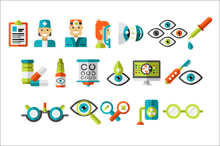 Ophthalmology set, treatment and correction of vision, ophthalmologist equipment vector Illustrations on a white background Ilustracja